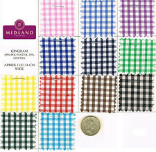 "New 1/8"" Gingham Polycotton Fabric  12 colours 44"" wide Midtex M23 Mtex"