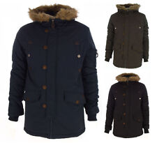 Men's New Hooded Navy Black and Khaki Parka Jacket/Coat Quilted Padded Size S-XL