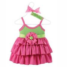 Mud Pie Baby Pink & Green Ruffle Sun Dress - Designer Clearance Sale 0-6 9-12 m