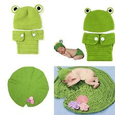 1 Set Baby Infant Frog Animal Cosplay Photo Photography Props Knit Wool Hat Cap