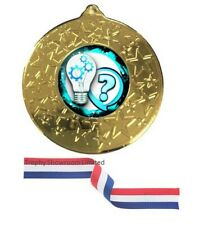 50mm Quiz Medal with FREE Medal Ribbon,Gold,Silver,Bronze (B)