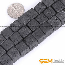 Natural Black Volcanic Lava Gemstone Square Beads For Jewelry Making Strand 15""