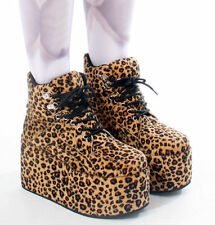 Japan Harajuku Cyber Leopard Velvet Punk Ultra Tall Platform Hi Top Sneaker Boot