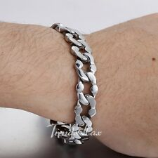 11MM CUSTOMIZE Curb Cuban Silver Tone 316L Stainless Steel Bracelet  Mens Chain