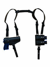 NEW Barsony Black Leather Shoulder Holster Dbl Mag Pouch Smith&Wesson Full Size