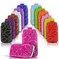 DIAMOND BLING LEATHER PULL TAB SKIN CASE COVER POUCH FOR VARIOUS ZTE PHONES