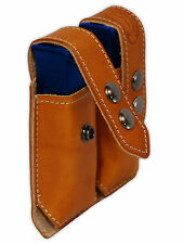 NEW Barsony Tan Leather Dbl Mag Pouch for Llama, NA Arms Mini/Pocket 22 25 380