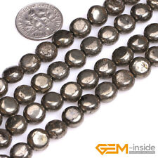 "Coin Silver Gray Pyrite Jewelry Making Loose Gemstone Beads Strand 15"" yao-bye"