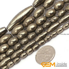 """Silver Gray Pyrite Gemstone Olivary Rice Beads For Jewelry Making Strand 15"""""""
