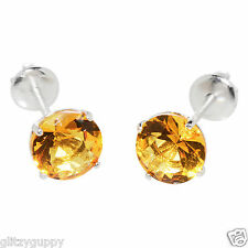 November birthstone citrine earrings sterling silver screwback yellow cz round