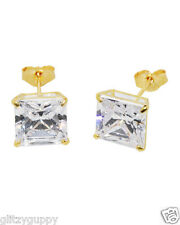 14k yellow gold stud earrings clear CZ cubic zirconia square basket set 3mm-9mm