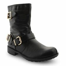 New Ladies Faux Leather Low Heel Buckle Strap Biker Ankle Boots Size UK 3-8