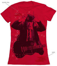AC/DC ANGUS YOUNG SPARKLE RED WOMENS/JUNIORS T-SHIRT S, L, XL Z511