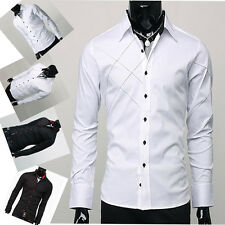 PJ Fashion 2014 Long Sleeve Men's Dating Shirts Slim Fit Patched Casual Shirts