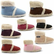 NEW LADIES COOLERS WARM MICROSUEDE FURRY SOFT FLUFFY SLIPPERS BOOTS UK SIZE 3-8