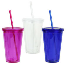 16 oz Acrylic Double Wall Cup with Straw BPA-Free Choose from Blue, Pink, Clear