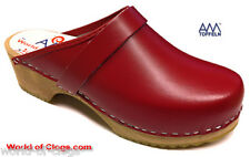 Clogs Shoes Mules Am Toffeln 100 Red Leather Wooden Swedish Brand New In Box
