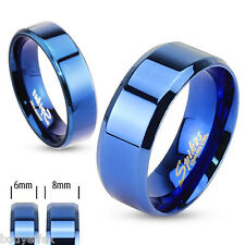 AWESOME MENS BLUE IP STAINLESS STEEL BEVELED EDGE FLAT WEDDING BAND RING 6MM