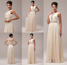 Vintage Beaded Chiffon Evening Cocktail Prom Party Gowns Bridesmaid Long Dresses