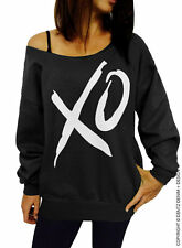 XO - Black Slouchy Over Sized Off Shoulder Sweatshirt Hugs and Kisses Love