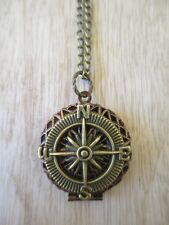 USA Seller STEAMPUNK Nautical Navigation Compass Photo Copper Locket Necklace