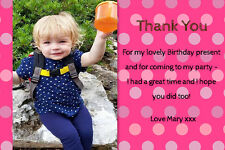 Personalised Birthday Thank You cards inc envelopes (BT3)