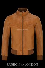 Men's PLAYER Tan 1980's Retro Style PUFFER CHEST Lambskin Leather Jacket