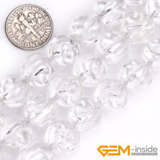 """Natural White Rock Crystal Quartz Carved Flower Beads For Jewelry Making 15"""" YB"""