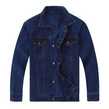 Retro Men's Button Front Lapel Jean Jacket Casual Washed Denim Long Sleeve Coat
