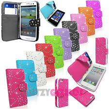 DIAMOND BLING SPARKLY PU LEATHER FLIP CASE COVER FOR VARIOUS/MANY MOBILE PHONES