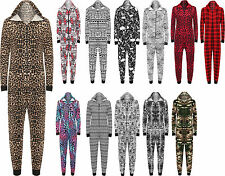 New Womens Animal Aztec Zebra Print Onesie Ladies Playsuit Long Hooded Jumpsuit