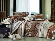 New REVERSIBLE chocolate scroll Duvet Cover 3pcs Set TWIN DOUBLE QUEEN  KING