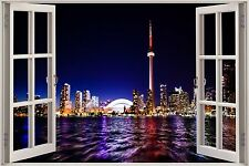 Huge 3D Window Fantasy Night City View Wall Stickers Film Mural Decal Wallpaper