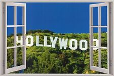 Huge 3D Window Hollywood Sign View Wall Stickers Film Decal Wallpaper