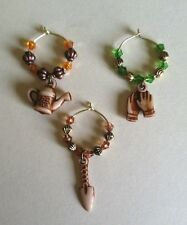 my garden wine glass charms gold tone rings set of 4 CHOICE OF COLORS