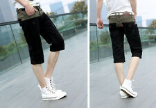 New Fashion Mens Summer Stylish Mixed Color Casual Cropped Trousers Jeans Shorts
