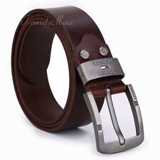 Mens Genuine Leather Single Prong Belt Business Casual Dress w/ Metal Buckle