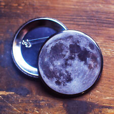 MOON BUTTON badge pin astronomy full science stars lunar outer space geek