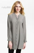 EILEEN FISHER SILK CREPE DE CHINE LAYERING TUNIC DRESS PEWTER SILVER S M L NWT