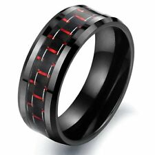 Tungsten Carbon Fiber Black & Red Colour Mens Wedding Ring Size 6 - 10 R586