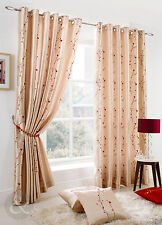 Embroidered Blossom Cream Eyelet Curtains Faux Silk Lined Ring Top Curtain Pair