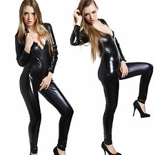 Sexy PVC Overall Lack Anzug WetLook Catsuit Bodys Dessous bis Gr.XL