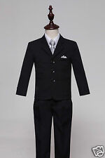 Boy Black/Silver Formal Page Suit Waistcoat Suits Wedding Tuxedo Function