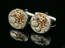 LUXURY QUALITY WATCH MOVEMENT STEAMPUNK VINTAGE CUFFLINKS MENS BIRTHDAY GIFT