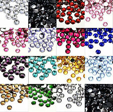 CRYSTAL Flat Back Round & ACRYLIC Rhinestones - Choose 3MM 4MM 5MM 6MM 7MM 8MM