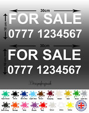 For Sale Sign x4 Vinyl - With Mobile Phone Number Personalised Decal