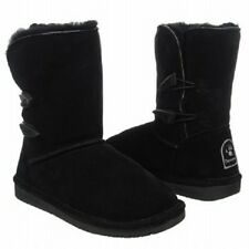 Women's BEARPAW ABIGAIL 682W Black Suede Sheepskin/Shearling Winter Boots NEW