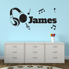 Headphones Personalised Wall Sticker Music Notes Art Decal Vinyl Transfer Kid's