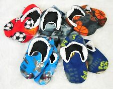 BOYS fleece Skull Basketball Football Camo - Non Slip Slippers Socks 4T 5T 6T 7T