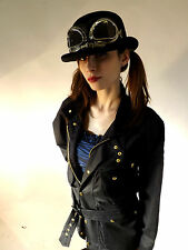 New Cyber Fashion Steampunk Wax Cotton Motorcycle Jacket Bowler Hat & Goggles